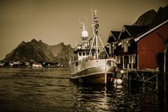 Fishing boat in Norway Stock Photo