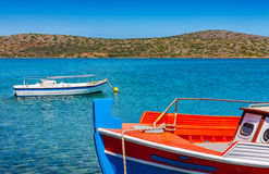 Fishing Boat off the coast of Crete, Greece Stock Photo