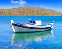 Fishing Boat off the coast of Crete, Greece Stock Photos