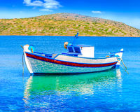 Fishing Boat off the coast of Crete, Greece Royalty Free Stock Photos