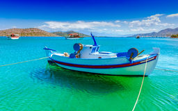 Fishing Boat off the coast of Crete, Greece Royalty Free Stock Images