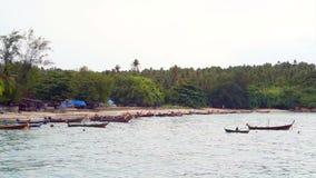 Fishing Boat off Coast of Phuket Ocean Thailand stock footage
