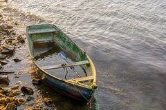 Fishing boat. Old fishing boat in wood Stock Photo