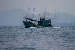 Fishing boat. In the open sea Royalty Free Stock Image