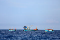 Fishing boat operation in the gulf for find fresh fish, Worker fishing the fish with team each day and night time Stock Image