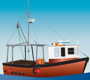 Fishing Boat. An Orange and White Inshore Fishing Boat with a blue sky background Royalty Free Stock Photos