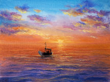 Fishing boat. Original abstract oil painting of fishing boat Stock Image