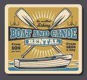 Fishing boat and paddles rental vector illustration