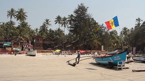 Fishing boat on the Palolem beach stock video footage