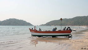 Fishing boat on the Palolem beach stock footage