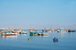 Fishing boat in Paracas national park. Peru Stock Photos