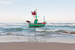 Fishing boat park at beach Royalty Free Stock Photography