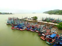 Fishing boat Park near the bay. stock photography