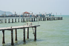 Fishing boat pier. Royalty Free Stock Photo