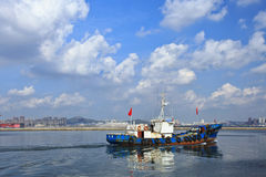 Fishing boat in Port of Dalian, China Stock Photo