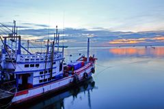 Fishing boat in port royalty free stock photos