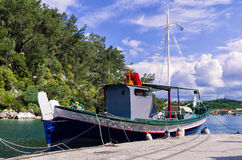 Fishing boat at the port of Gaios village, Paxoi island, Greece Royalty Free Stock Photography