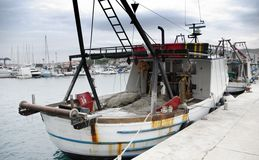 Fishing boat in port, harbor Royalty Free Stock Photo