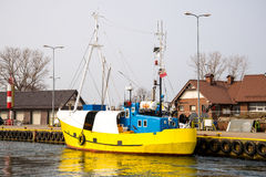 Fishing boat in the Port of Jastarnia Stock Photo