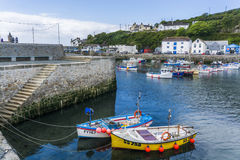 Fishing boat in Porthlevan historic port Royalty Free Stock Photos