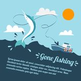 Fishing boat poster. Fishing poster with boat and fishermen catching swordfish vector illustration Stock Photography