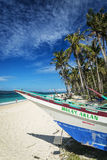 Fishing boat on puka beach tropical paradise boracay philippines Stock Photo