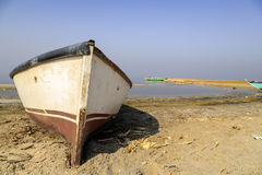 Fishing Boat. In Qaroun Lake, It is 20 km from Fayoum, 80 km from Cairo. The lake is considered one of the most important ancient natural lakes. It is the Stock Images
