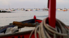 Fishing Boat Rack Focus 02. Picturesque Mediterranean fishing boats in la Costa Brava, Girona, Spain stock video footage