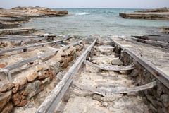 Fishing Boat Ramps, Es Calo, Formentera Stock Photography