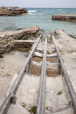 Fishing Boat Ramps, Es Calo, Formentera Stock Image