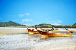 Fishing Boat, Ranong Thailand. Group of fishing boats landing at the beach of Andaman sea, Ranong Thailand Royalty Free Stock Images