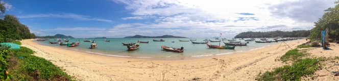 Fishing boat at Rawai beach at phuket ,panorama seadscap. Fishing boat at Rawai beach at phuket thailand,panorama seadscapes Royalty Free Stock Photo