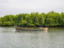 Fishing Boat Ready to fishing in Mangrove Forest Conservation in Indonesia royalty free stock photography