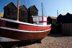 Fishing boat red ship moored in Hastings uk Stock Images