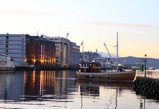 Fishing boat. Boat returning to harbor in Bergen Royalty Free Stock Photography