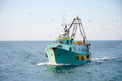 Fishing boat returns home. Fishing boat returns to port accompanied by seagulls Royalty Free Stock Image