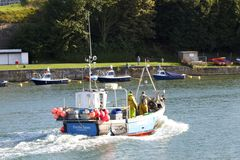 Fishing boat returns. This fishing boat returns to Weymouth Harbour with its haul ready to sell to the local restaurants Royalty Free Stock Photography