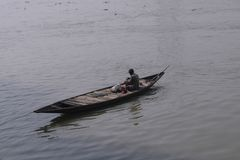 Fishing boat on the River Ganges stock photo