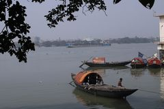 Fishing boat on the River Ganges royalty free stock photography