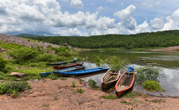 Fishing boat on river Stock Image