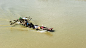 Fishing boat on the river Royalty Free Stock Images