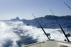 Fishing boat with rod and reels in mediterranean Stock Photo