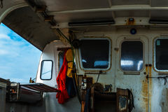 The fishing boat`s interior, the right side of the boat, the fis Stock Photos