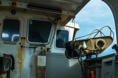 The fishing boat`s interior, the right side of the boat, the fis Royalty Free Stock Images