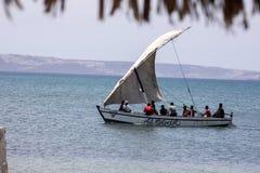 fishing boat with a sail, Amoronia orange coast, Madagascar, Royalty Free Stock Photo