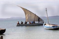 Fishing boat with a sail, Amoronia orange coast, Madagascar, Royalty Free Stock Photography
