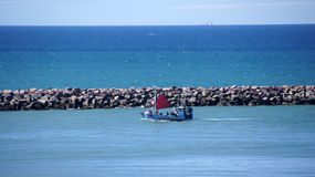 Fishing boat with sail in Hirtshals Stock Images