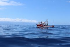 Fishing Boat Sailing in the ocean royalty free stock images