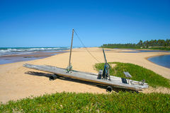 Fishing boat on the sand of a tropical beach, Brazil Royalty Free Stock Photo