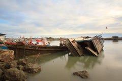 fishing boat sank at petchaburi province ,Thailand Stock Photo